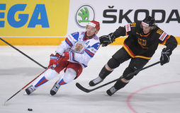 Ilya Kovalchuk. (L) in Russsian national ice hockey team jersey, taking part in a World cup game against Germany 2012 Royalty Free Stock Photography