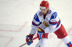 Ilya Kovalchuk. In Russsian national ice hockey team jersey, taking part in a World cup game 2012 Stock Image