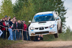 Ilya Semenov drives a Subaru Impreza Royalty Free Stock Photography