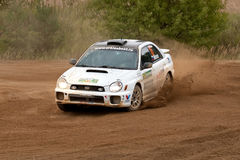 Ilya Semenov drives a Subaru Impreza Stock Photo