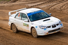 Ilya Semenov drives a Subaru Impreza Royalty Free Stock Photo