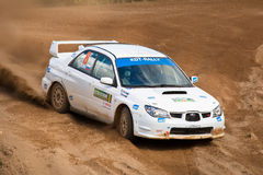 Ilya Semenov drives a Subaru Impreza Stock Photo