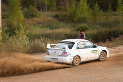 Ilya Semenov drives a Subaru Impreza  car Royalty Free Stock Photo