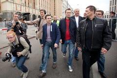 Ilya Yashin和Alexei Navalny 免版税库存照片