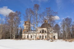 Ilyinsky Churchyard, Verhovazhsky District, Vologda Region, Russia. Crumbling Church of Elijah the Prophet Royalty Free Stock Photography