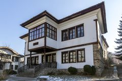 Ilyo Voyvoda博物馆大厦在丘斯滕迪尔,保加利亚镇  库存图片