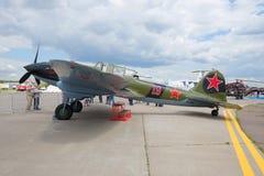 Ilyushin II-2m3 - ataque de tierra soviético de la Segunda Guerra Mundial en el airshow MAKS-2017 Fotografía de archivo