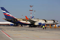 Ilyushin IL-96-300 caught fire while standing at Sheremetyevo international airport. SHEREMETYEVO, MOSCOW REGION, RUSSIA - JUNE 3, 2014: Ilyushin IL-96-300 Stock Image