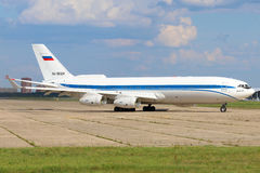 Ilyushin IL-96-400 of Federal Security Service shown at Zhukovsky, Moscow region, Russia. ZHUKOVSKY, MOSCOW REGION, RUSSIA - JULY 31, 2015: Ilyushin IL-96-400 of Royalty Free Stock Image