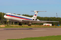 Ilyushin IL-62M RA-86539 of Russian Air Force landing at Chkalovsky. CHKALOVSKY, MOSCOW REGION, RUSSIA - JULY 18, 2013: Ilyushin IL-62M RA-86539 of Russian Air Royalty Free Stock Photography