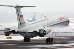 Ilyushin IL-62M RA-86559 of Russian Air Force landing at Vnukovo international airport. Royalty Free Stock Photos