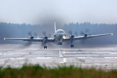 Ilyushin Il-20M reconnaissance airplane takes off at Kubinka air force base. KUBINKA, MOSCOW REGION, RUSSIA - JUNE 14, 2015: Ilyushin Il-20M reconnaissance Stock Image