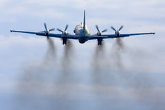 Ilyushin Il-20M RF-93610 reconnaissance airplane takes off at Kubinka air force base. Royalty Free Stock Photo