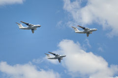 Ilyushin Il-76MD Aircrafts in Clouds over Red Square Stock Photography