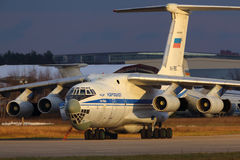 Ilyushin IL-76MD RA-78850 of russian air force standing at Zhukovsky. ZHUKOVSKY, MOSCOW REGION, RUSSIA - NOVEMBER 31, 2013: Ilyushin IL-76MD RA-78850 of russian Royalty Free Stock Photos