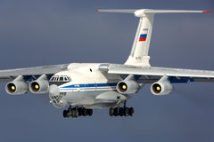 Ilyushin IL-76MD of Russian Air Force landing at Kubinka air force base. KUBINKA, MOSCOW REGION, RUSSIA - FEBRUARY 24, 2014: Ilyushin IL-76MD of Russian Air Stock Photos