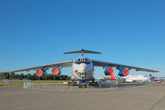 The Ilyushin Il-76MDK. ZHUKOVSKY, MOSCOW REGION, RUSSIA - AUG 24, 2015: The Ilyushin Il-76MDK - airplane for training astronauts in conditions of weightlessness Stock Photography
