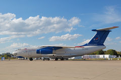 The Ilyushin Il-76MDK. ZHUKOVSKY, MOSCOW REGION, RUSSIA - AUG 23, 2015: The Ilyushin Il-76MDK - airplane for training astronauts in conditions of weightlessness Stock Photos