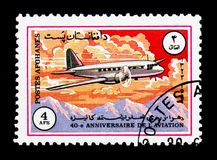 Ilyushin Il-12, 40.o aniversario del serie de Ariana Airline, circa foto de archivo libre de regalías