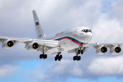 Ilyushin IL-96-300 RA-96018 of President`s special flight unit landing at Vnukovo international airport. VNUKOVO, MOSCOW REGION, RUSSIA - MARCH 10, 2013 Stock Photo