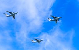 3 Ilyushin IL-76 (Spontane) multifunctionele strategische airlifters Stock Foto's