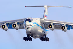 Ilyushin IL-76TD landing at Sheremetyevo international airport. SHEREMETYEVO, MOSCOW REGION, RUSSIA - MARCH 29, 2014: Ilyushin IL-76TD landing at Sheremetyevo Royalty Free Stock Photos