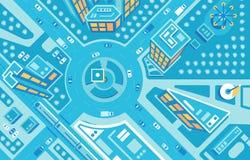 imágenes aéreas de la Top-vista del ejemplo plano de la ciudad stock de ilustración