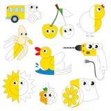 Imágenes amarillas divertidas del color, el juego grande del niño que se coloreará por ejemplo medio ilustración del vector
