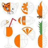 Imágenes anaranjadas del color, el juego grande del niño que se coloreará por ejemplo medio libre illustration