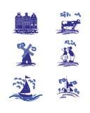 Imágenes azules de la gente de Holanda del holandés de la cerámica de Delft del vector Imagenes de archivo