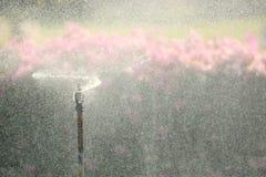 Imágenes borrosas del espray de agua, ciudad de la niebla con humo de la prevención del polvo de P.M. 2 polvo 5 con la contaminac foto de archivo