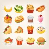 Imágenes coloridas de los alimentos de preparación rápida ilustración del vector