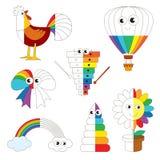 Imágenes coloridas del arco iris divertido, el juego grande del niño que se coloreará por ejemplo medio stock de ilustración