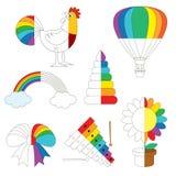 Imágenes coloridas del arco iris, el juego grande del niño que se coloreará por ejemplo medio libre illustration