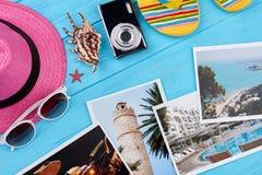 Imágenes de diversos centros turísticos, accesorios Foto de archivo