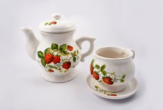 Imágenes de la acción del servicio de té de la fresa Fotos de archivo libres de regalías