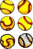 Imágenes de la bola del beísbol con pelota blanda Fotografía de archivo