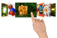 Imágenes de la Navidad del movimiento en sentido vertical de la mano Foto de archivo libre de regalías