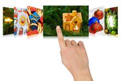 Imágenes de la Navidad del movimiento en sentido vertical de la mano Imagenes de archivo