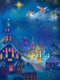 Imágenes de la Navidad de un pequeño pueblo en el mountainsMusik, árbol de navidad Taun ilustración del vector