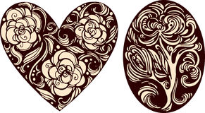 Imágenes decorativas del óvalo y del corazón Imagen de archivo libre de regalías