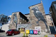Imágenes del arte de la calle con dos pájaros coloridos en los frentes de los edificios modernos Imagenes de archivo