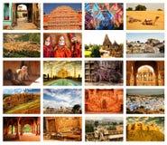 Imágenes del collage de Rajasthán, la India Fotografía de archivo