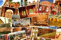 Imágenes del collage de Rajasthán, la India Imagenes de archivo