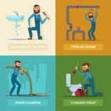Imágenes del concepto fijadas de fontanero en el trabajo ilustración del vector