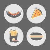 Imágenes del menú del café del restaurante de los alimentos de preparación rápida stock de ilustración