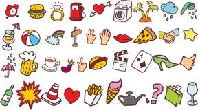 Imágenes del vector de los garabatos que comprenden objetos y el foodon el Blackground blanco stock de ilustración