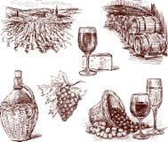 Imágenes del vino de la uva stock de ilustración