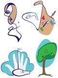 Imágenes divertidas de la historieta como iconos en diversos temas Imagenes de archivo