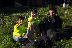 Imágenes dramáticas de la crisis eslovena del refugiado Imagen de archivo libre de regalías